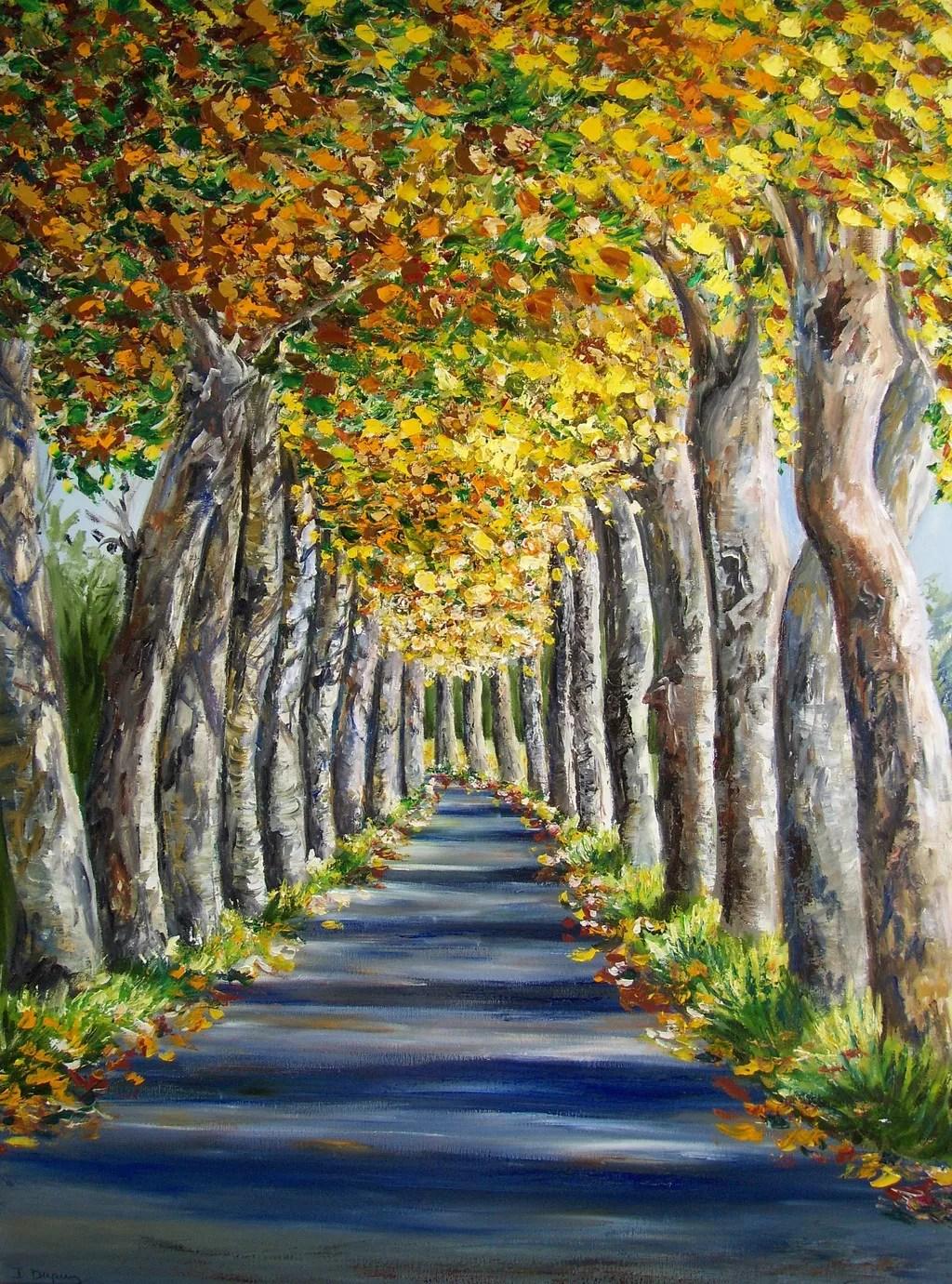 Birch Tree Fall Wallpaper Close Up Isabelle Dupuy Artwork Avenue Of Plane Trees Original