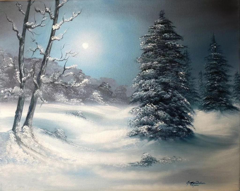 Birch Tree Fall Wallpaper Close Up Marion Dutton Artwork Silent Night Original Painting