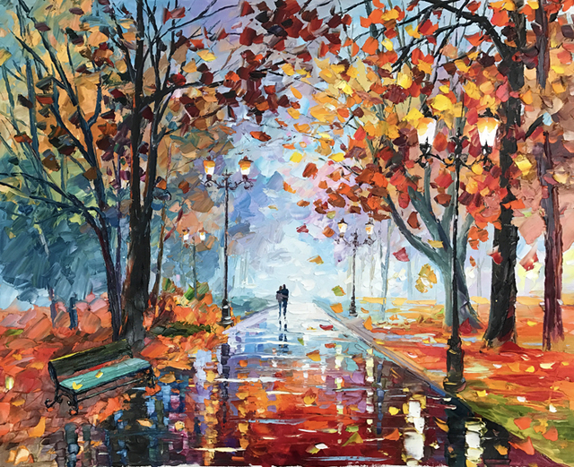 Fall And Autumn Wallpaper Daniel Wall Rainy Day In Autumn Painting Oil Artwork