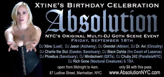 Absolution-NYC-Goth-Club-Flyer-DJ-Xtine's Birthday
