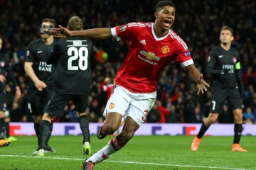 MANCHESTER, ENGLAND - FEBRUARY 25:  Marcus Rashford of Manchester United celebrates scoring his team's third goal during the UEFA Europa League Round of 32 second leg match between Manchester United and FC Midtjylland at Old Trafford on February 25, 2016 in Manchester, United Kingdom.  (Photo by Alex Livesey/Getty Images)