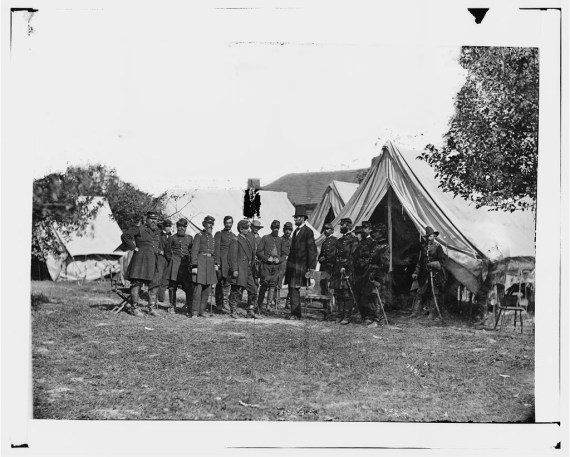 President Lincoln Visiting the Battlefield, General McClellan and 15 members of his Staff are in the Group - Antietam, MD, October 3, 1862