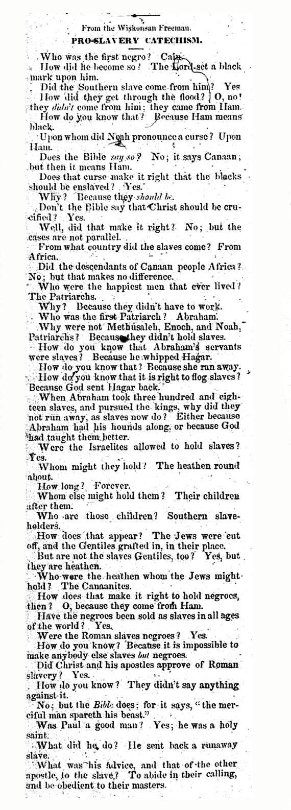 A Pro-Slavery Catechism in The National Era - July 8, 1847