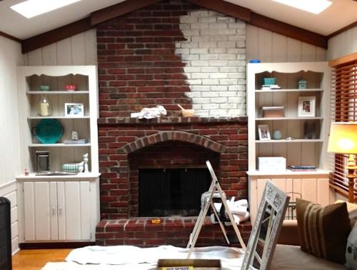 Medium Of Whitewash Brick Fireplace