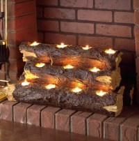 Birch Fireplace Logs With Candles | Home Design Ideas
