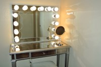 Lighted Vanity Table With Mirror And Bench   Home Design Ideas