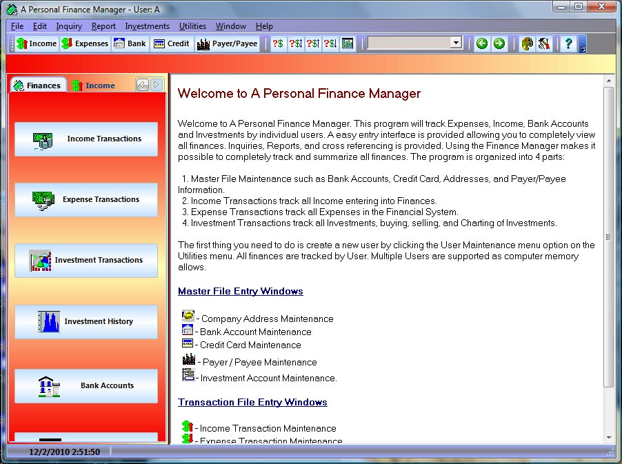 A Personal Finance Manager