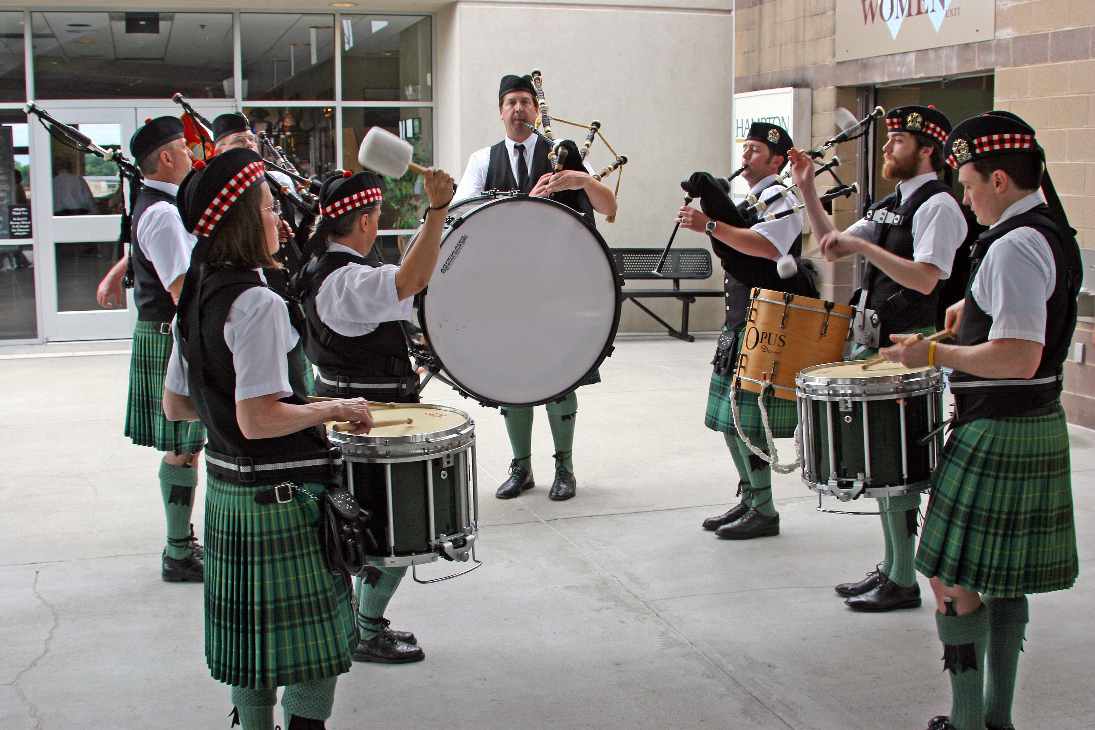 Stock Photo Of A Military Scottish Bagpipe Band