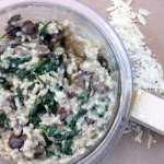 shallot & spinach crimini mushroom risotto