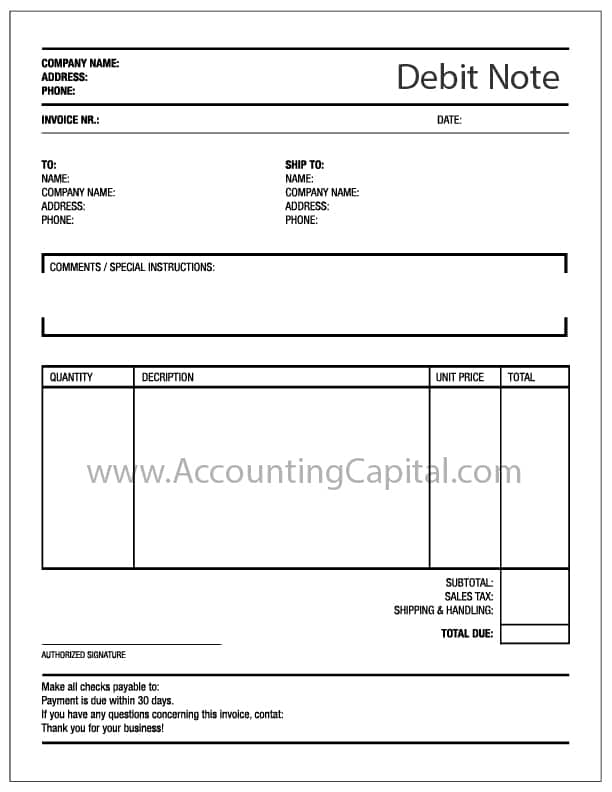 What is a Debit Note? - AccountingCapital - debit memo template