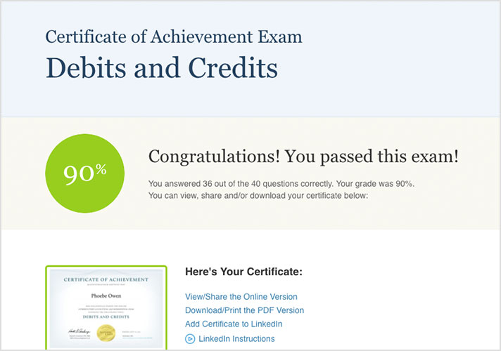 Accounting Certificates of Achievement AccountingCoach PRO Plus