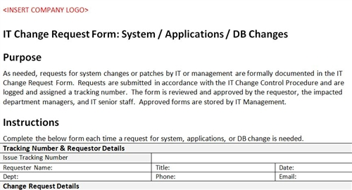 IT Change Request Form System / Applications / DB Changes
