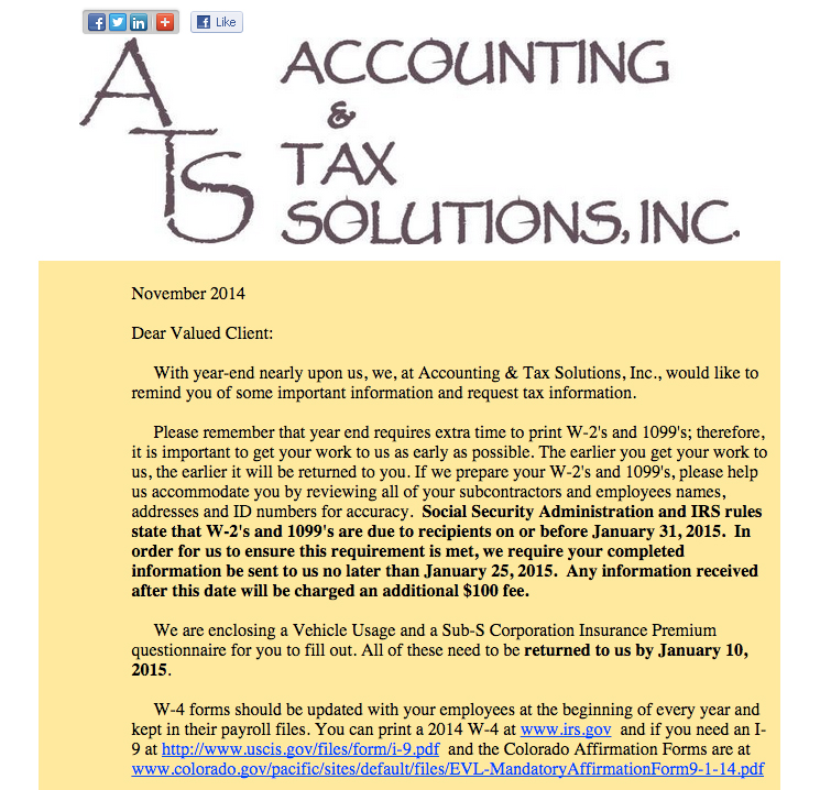2014 Accounting  Tax Solutions Year End Letter - Accounting and Tax