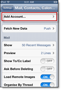 Adding an account to your iPhone