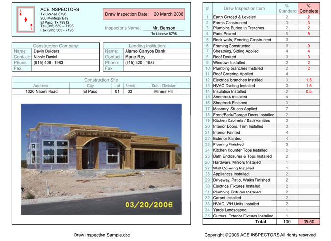 Construction Draw Inspections - El Paso Home Construction