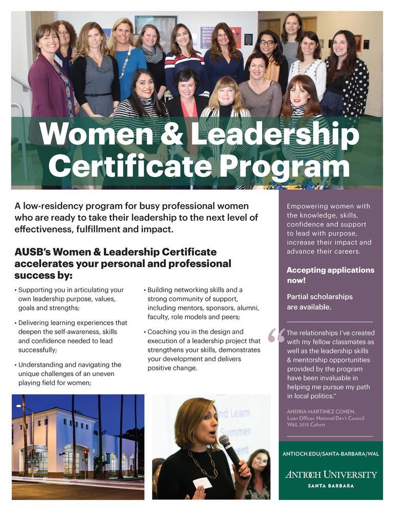 Women  Leadership Certificate Program-3 weekends starting March