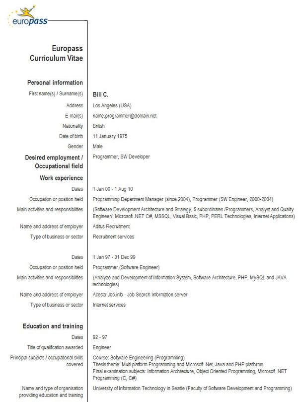 Europass CV Sample - principal architect sample resume