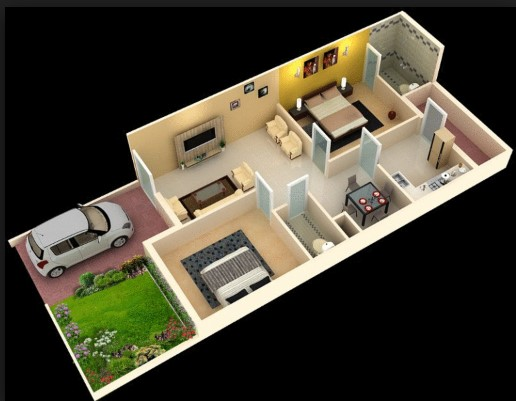 3d Wallpaper For Living Room In India 1000 Square Feet Modern Home Plan Everyone Will Like