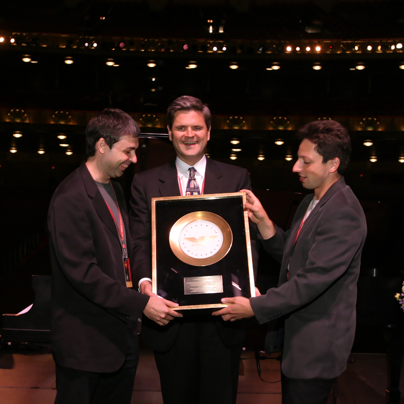 Arresting Sergey Brin At Civic Opera House Sergey Brin Academy Genplate Award To Both Larry Page Achievement Stephen Case Presents American Academy curbed Sergey Brin House