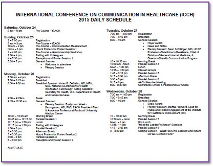 Academy of Communication in Healthcare \u003e Events \u003e International - conference agenda