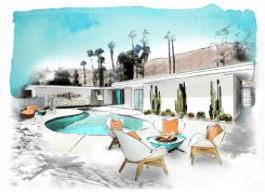 A sketch of the Christopher Kennedy Compound reimagined for Palm Springs Modernism Week
