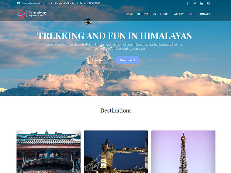 Travel Way - Travel, Tours  Trekking WordPress Theme - Acme