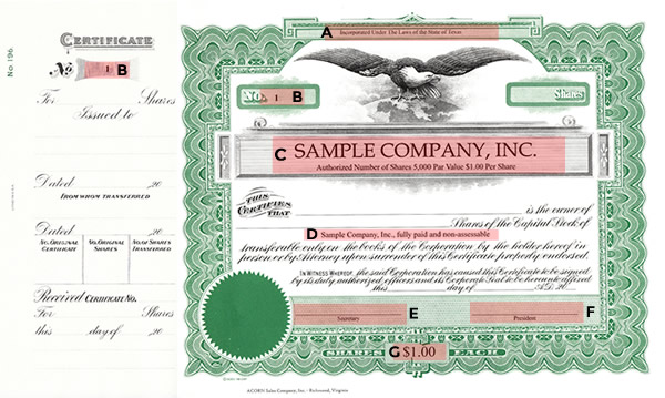 South Carolina Stock Certificate Goes 220 Certificate