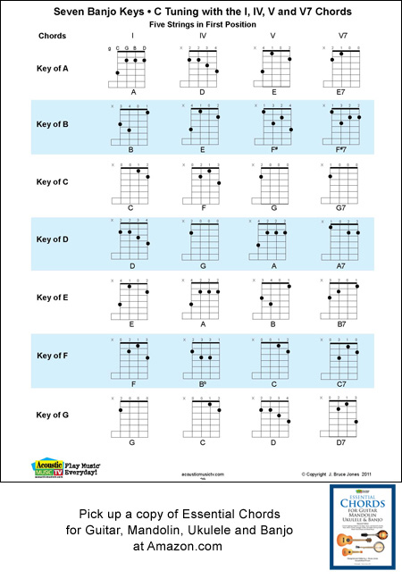 5 String Banjo Chord and Key Chart in C Tuning, g C G B D - mandolin chord chart