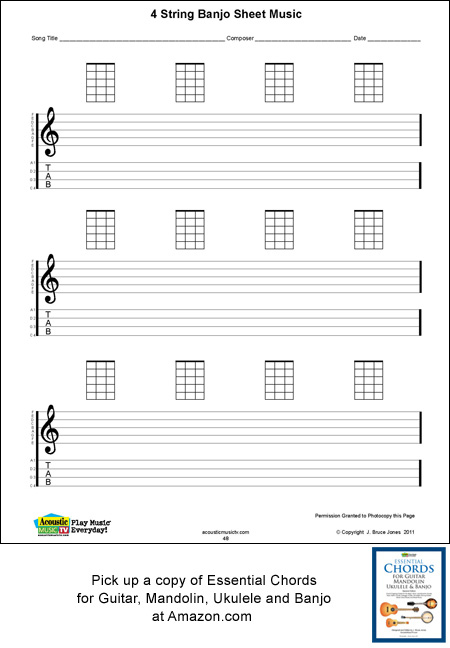 Banjo Blank Printable Sheet Music, Acoustic Music TV