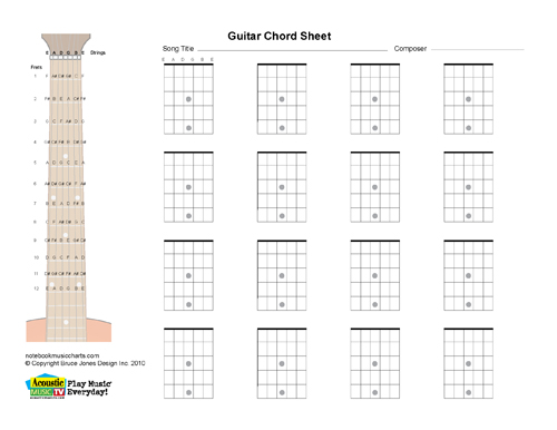 Guitar Blank Printabl Chord Boxes, Horiz Acoustic Music TV