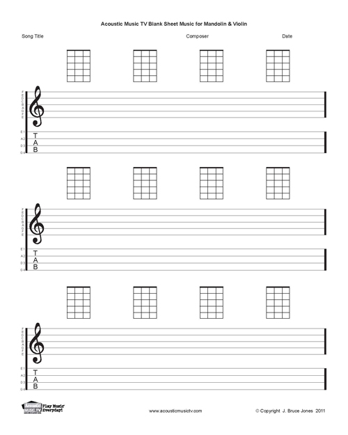 Mandolin Blank Printable Sheet Music, Acoustic Music TV