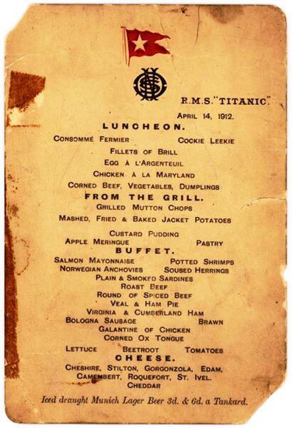 Cardápio Titanic