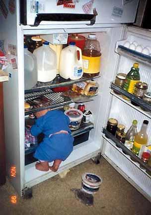 criança na geladeira