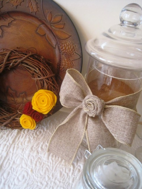 burlap bow on jar