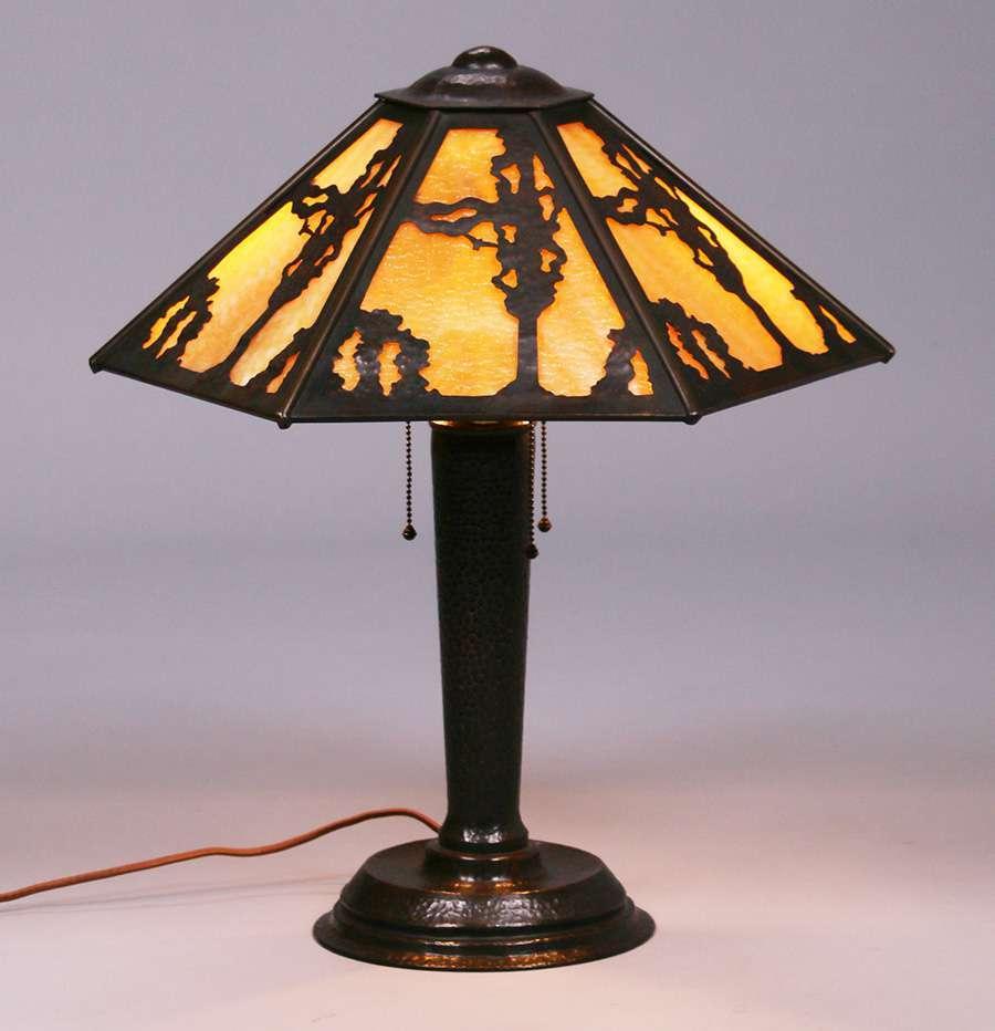 Limbert Hammered Copper Slagglass Lamp California
