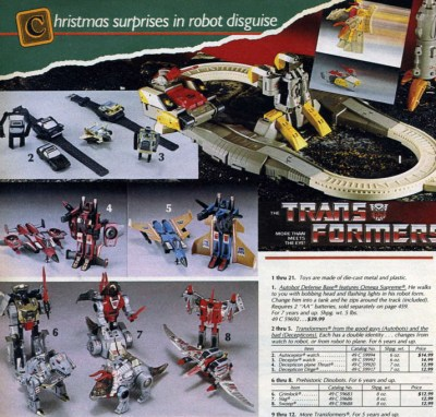 1985 Transformers toys from Sears Catalog, modified image courtesy of Wishbookweb.com