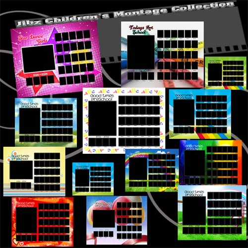 Fun kinder composites group templates,class photo 8x10 templates for