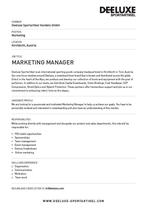 sports marketing director job description - Radiocaffefm - trade marketing job description
