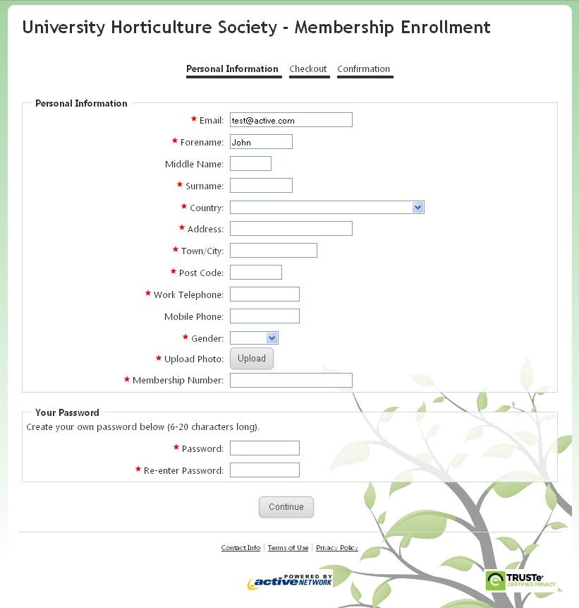 Sample Membership Form - Create an Online Membership Form - customer registration form sample