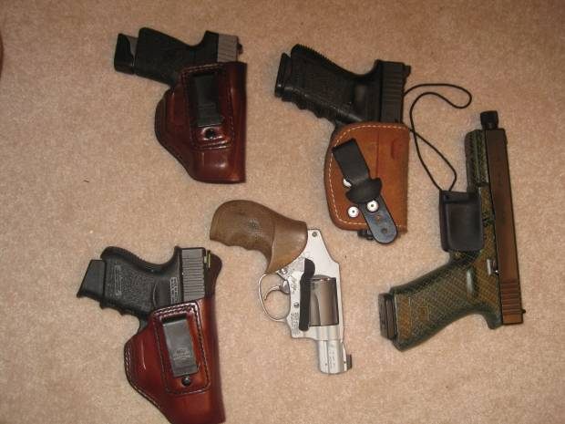 Some of the appendix holsters that I regularly use