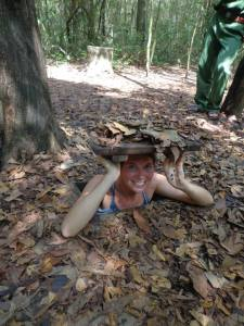 One of my friends popping up from a camoflaged tunnel opening in the jungle.  It's easy to see how difficult it was for us to locate the hidden tunnels