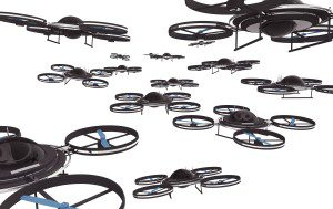 Drones Invasion Isolated on White Background 3D Illustration.