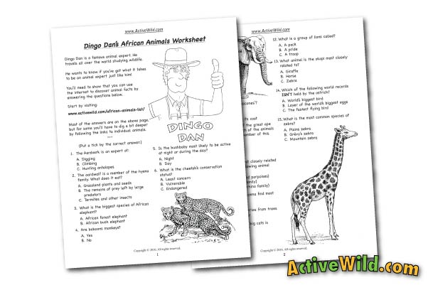 Free Printable Worksheets For Teachers  Parents - Wildlife And Science