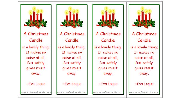 Christmas Bookmarks - Activities For Kids - christmas bookmark templates