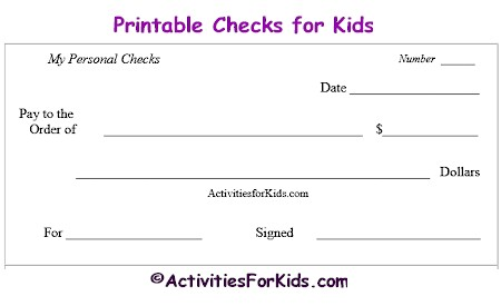 Printable Blank Checks, Check Register for Kids - Cheques
