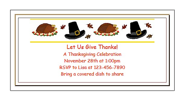 Free Printable Thanksgiving Invitations for Kids
