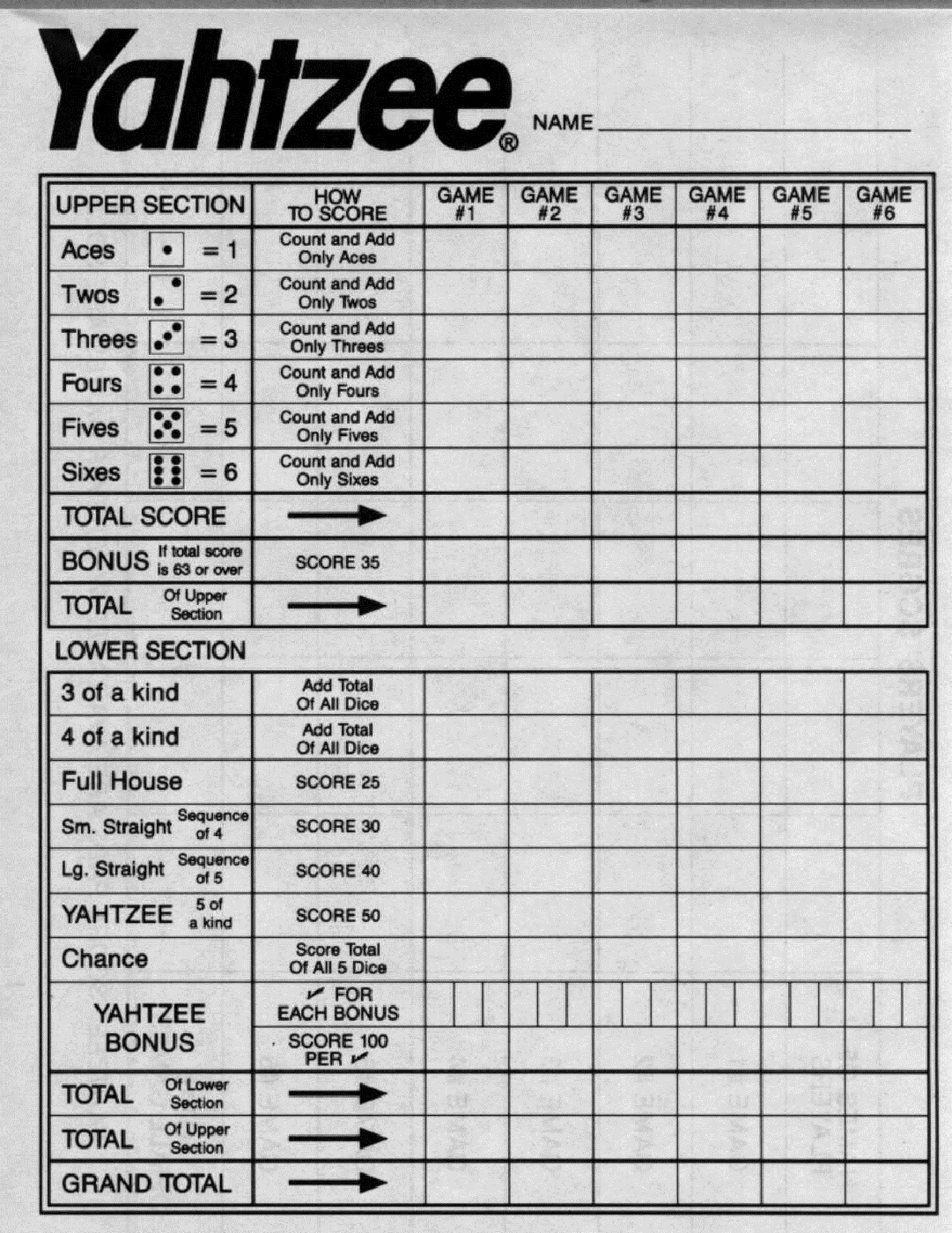 graphic relating to Yahtzee Score Cards Printable known as Yahtzee Ranking Sheets - Resume Illustrations Resume Template