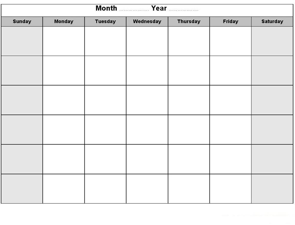 Printable Blank Monthly Calendar Activity Shelter - free calendar printable
