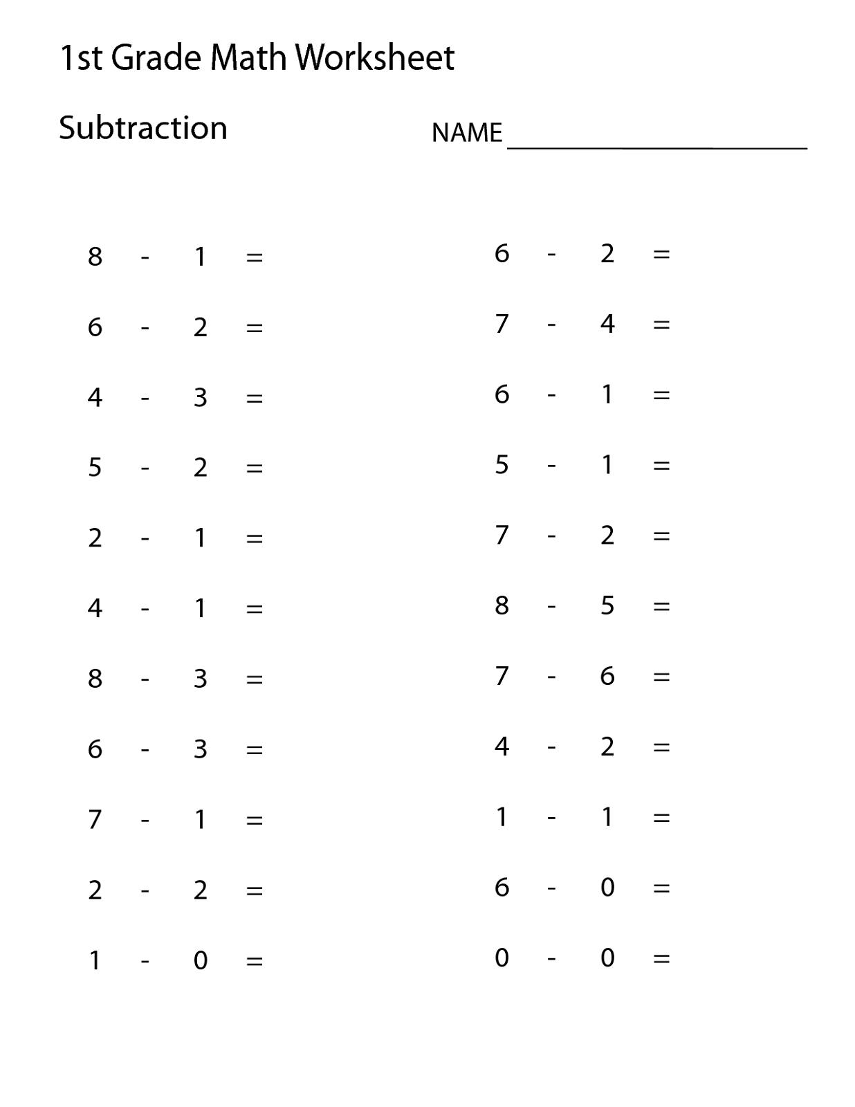 Math For Grade 1 Worksheets
