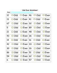 Free Even Odd Worksheets
